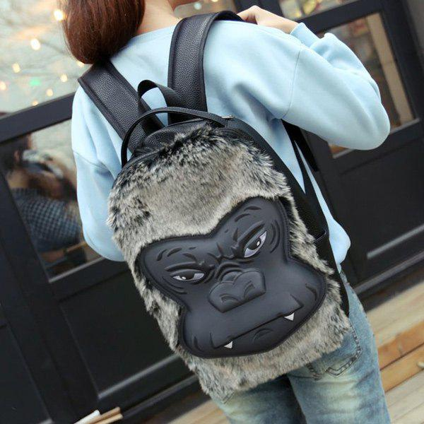 Fashionable Fur and Animal Pattern Design Women's Backpack - BLACK