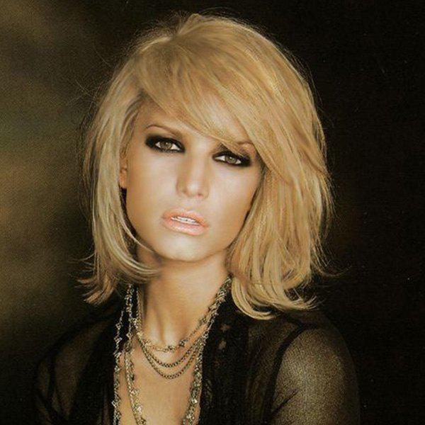 Exquisite Short Fluffy Human Hair Straight Side Parting Wig For Women - GOLDEN BROWN/BLONDE