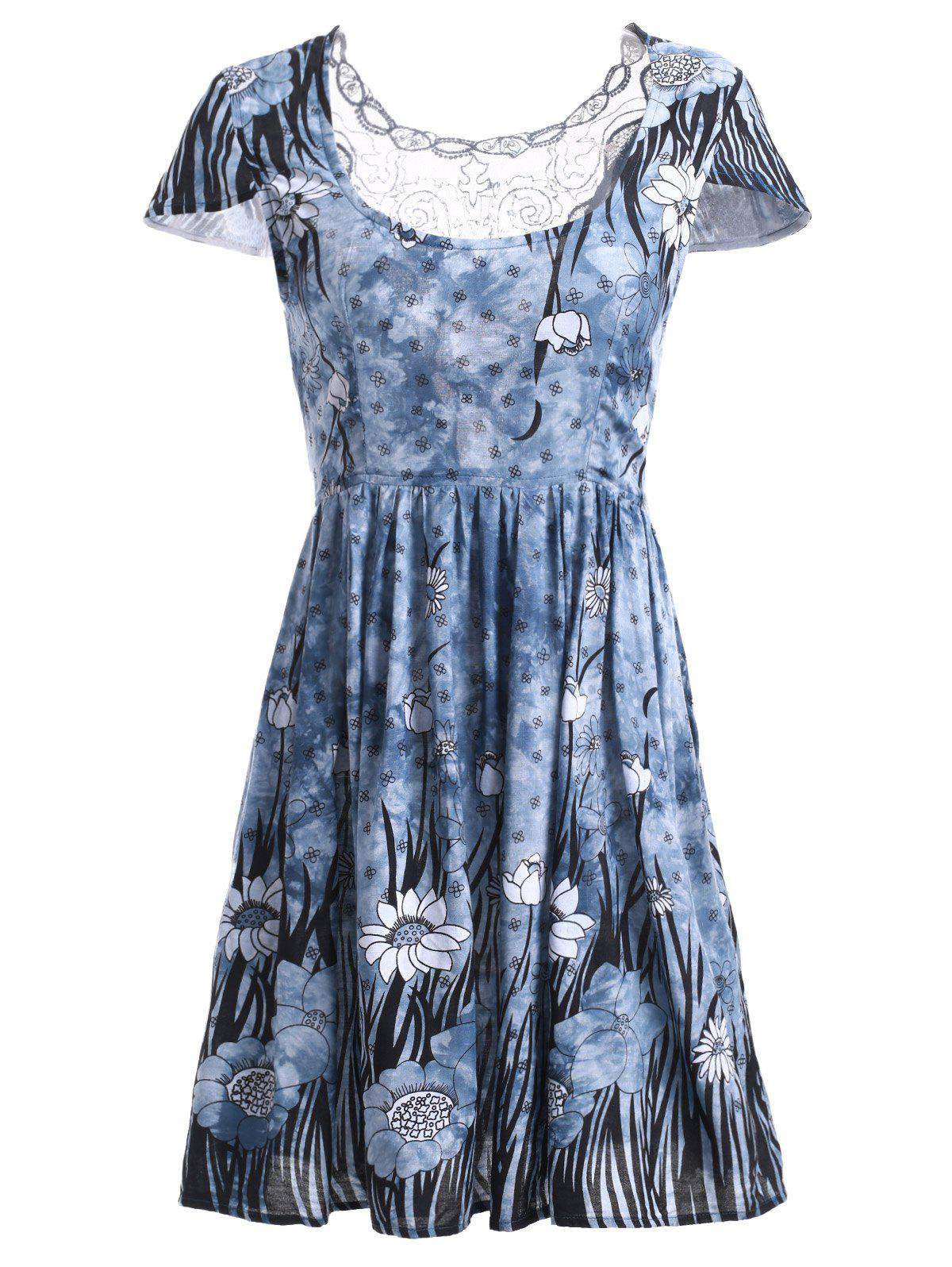 Refreshing Mesh Spliced Floral Dress - BLUE 2XL