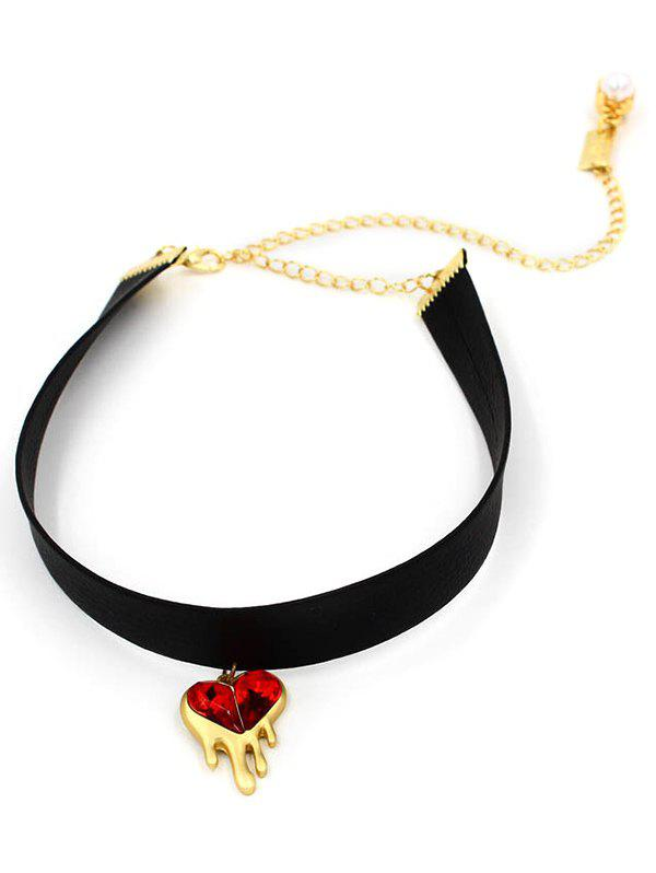 Faux Ruby Heart Choker Necklace - BLACK