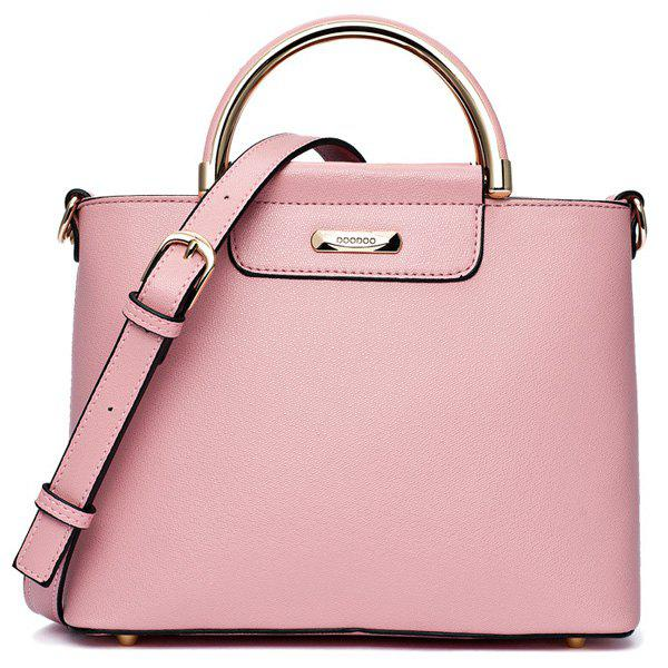 Concise Metal Handles and PU Leather Design Women's Tote Bag - PINK