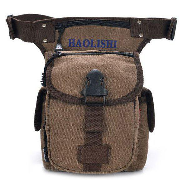 Concise Canvas and String Design Men's Waist Bag - COFFEE