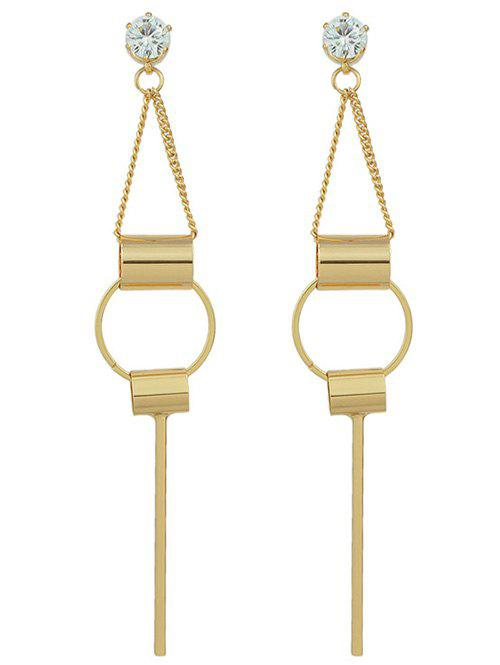 Pair of Geometric Rhinestone Drop Earrings - GOLDEN