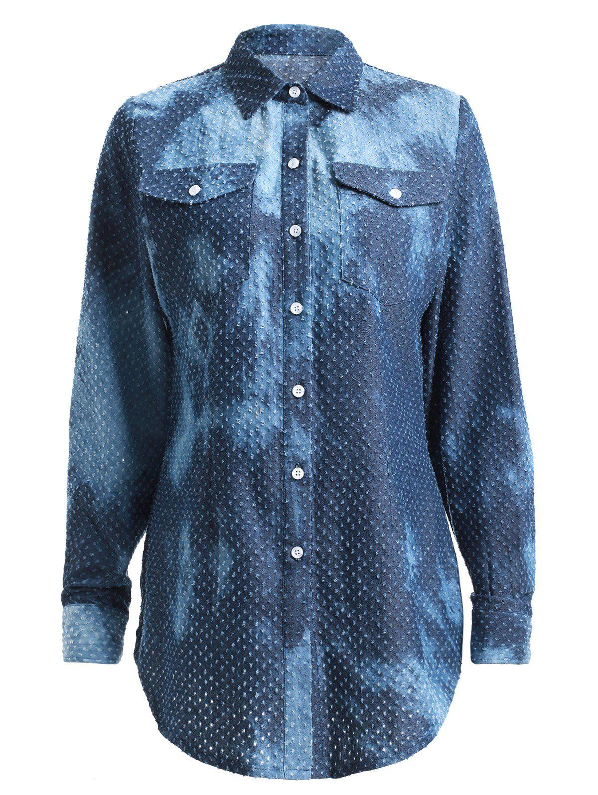 Fashion Distressed Design Long Sleeve Denim Shirt - DENIM BLUE 2XL