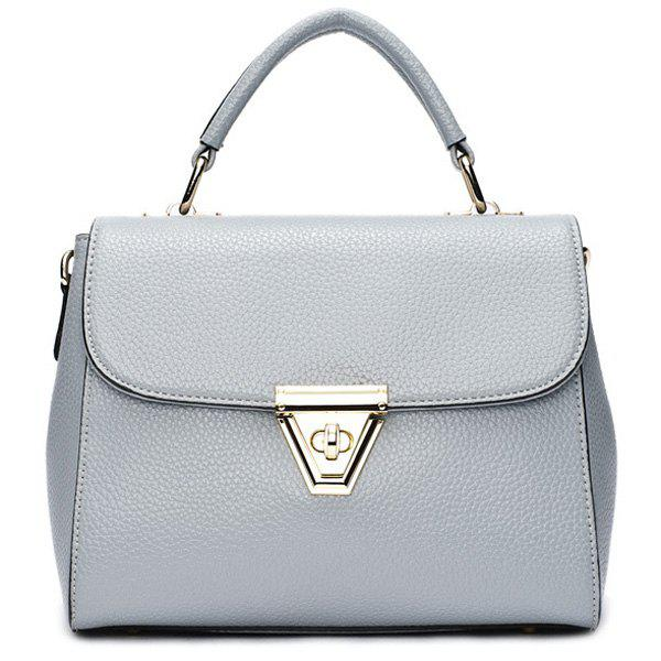Graceful Solid Color and Metal Hasp Design Women's Tote Bag - BLUE GRAY