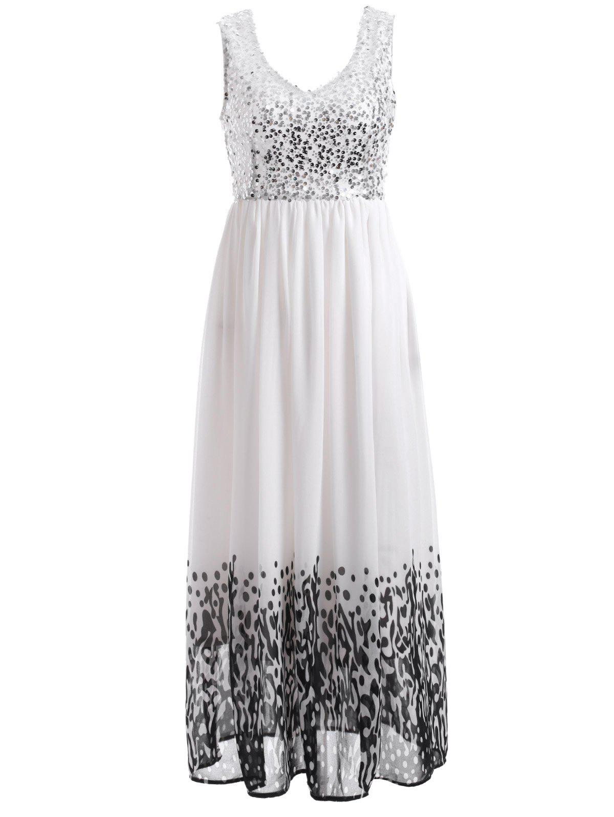 Sequin Embellished Printed Midi Dress - WHITE 2XL