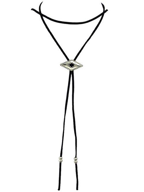 Vintage Faux Leather Geometric Choker - BLACK