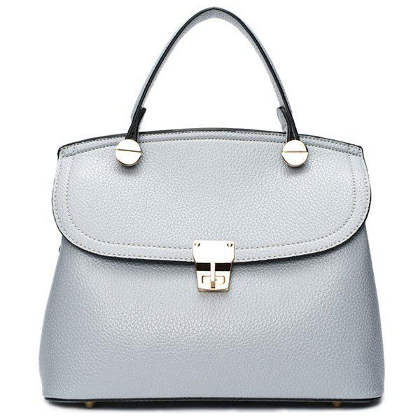 Concise Metallic and PU Leather Design Women's Tote Bag - BLUE GRAY