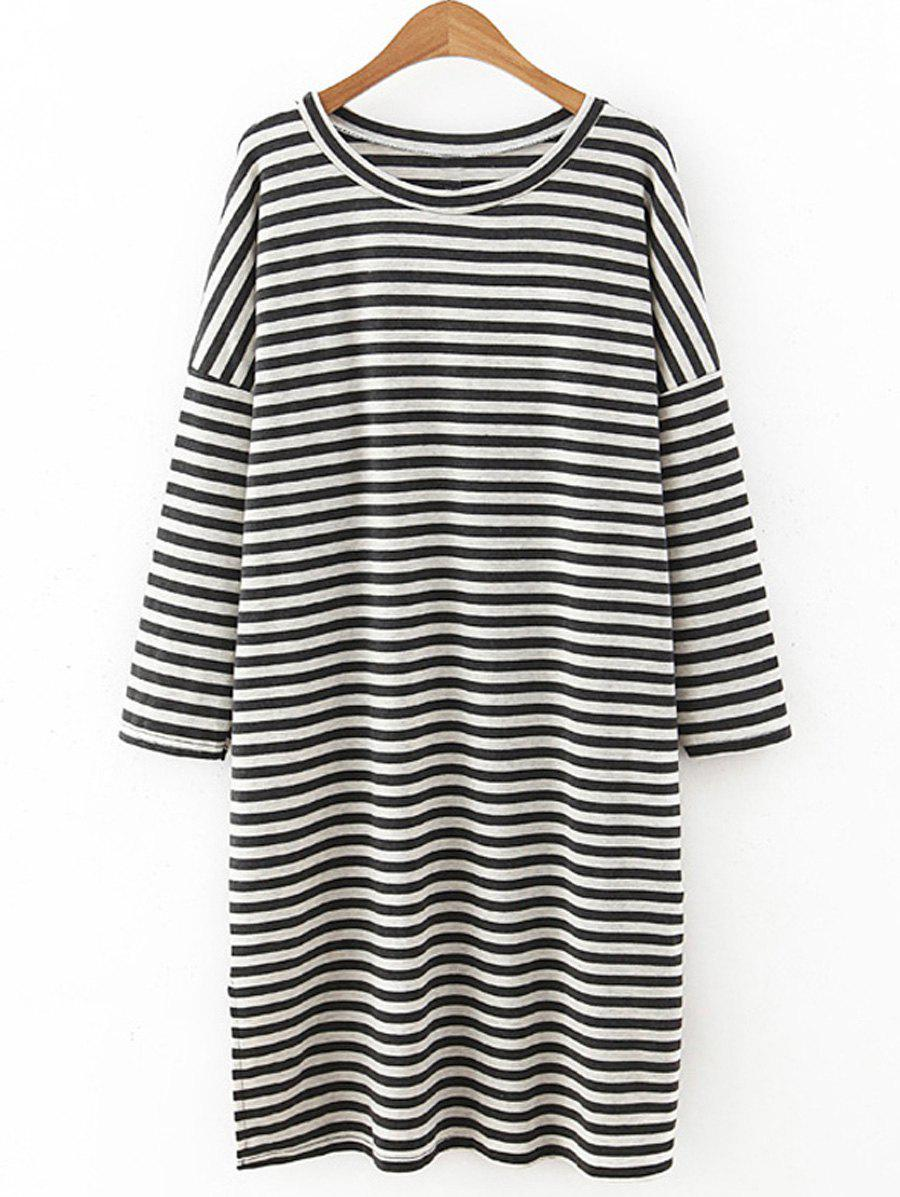 Casual Striped Loose-Fitting T-Shirt Dress For Women - STRIPE ONE SIZE