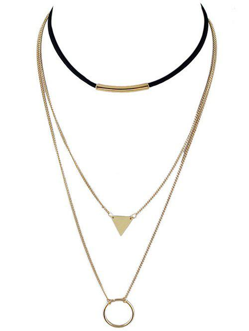 Triangle Circle Bar Multiayer Choker - GOLDEN