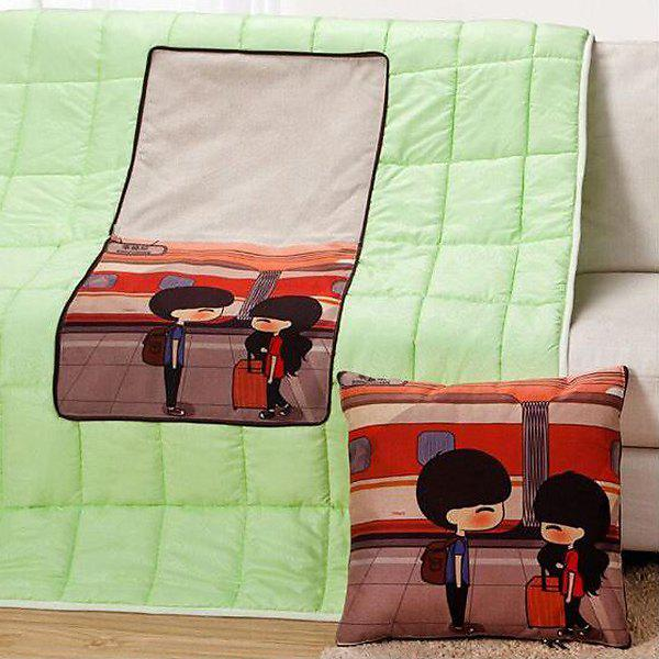 Comfortable Cartoon Pattern Multifunction 2 in 1 Folding Cushion Quilt - COLORMIX
