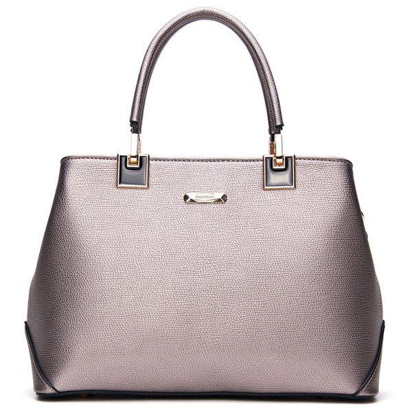 Trendy PU Leather and Metal Design Women's Totes