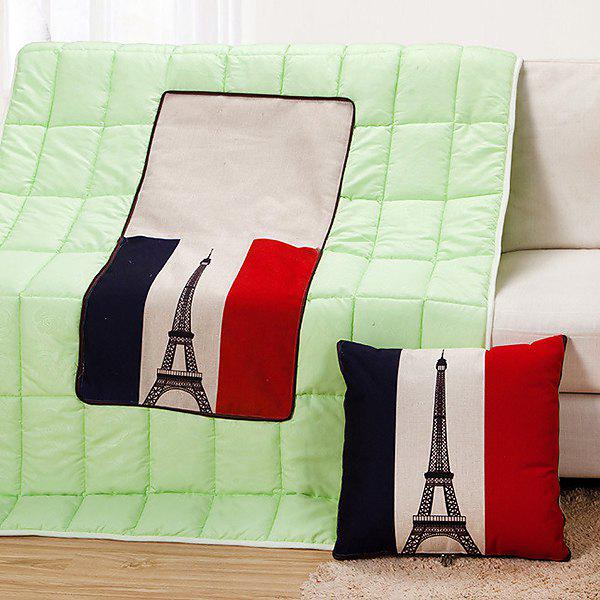 Chic Quality Foldable Iron Tower Pattern Dual-Purpose Cushion Quilt - COLORMIX
