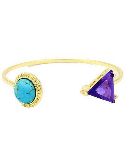 Stylish Faux Turquoise Cuff Bracelet - GOLDEN
