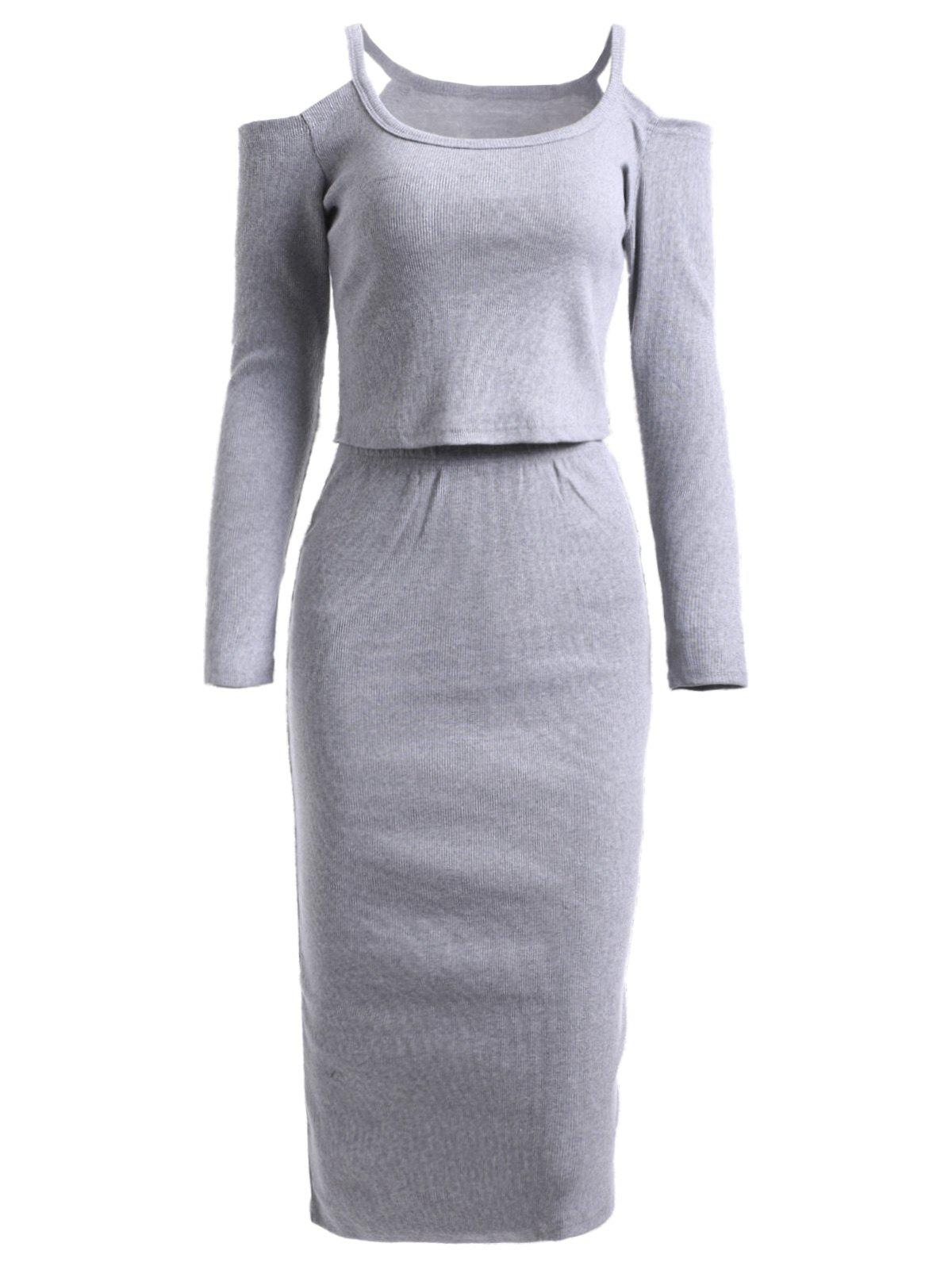 Simple Cold Shoulder Long Sleeve Top and Knitted Pencil Skirt Twinset - GRAY ONE SIZE
