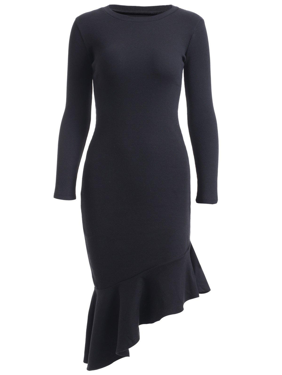 Simple Long Sleeve Flounced Mermaid Dress - BLACK ONE SIZE