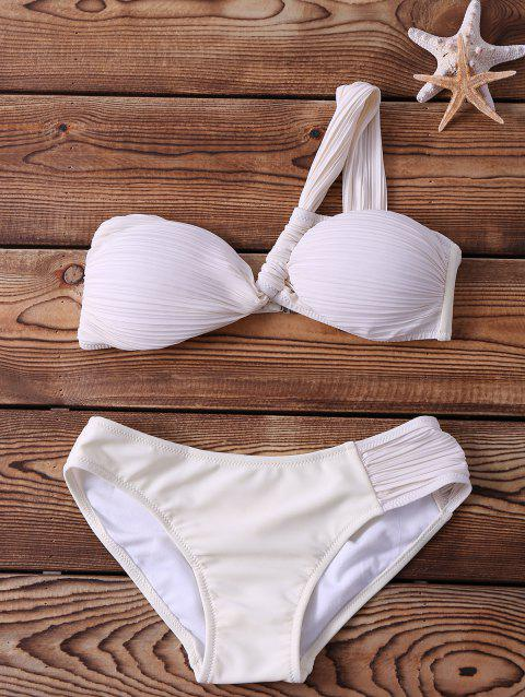 Alluring One-Shoulder Backless Ruched Women's White Bikini Set - WHITE XL