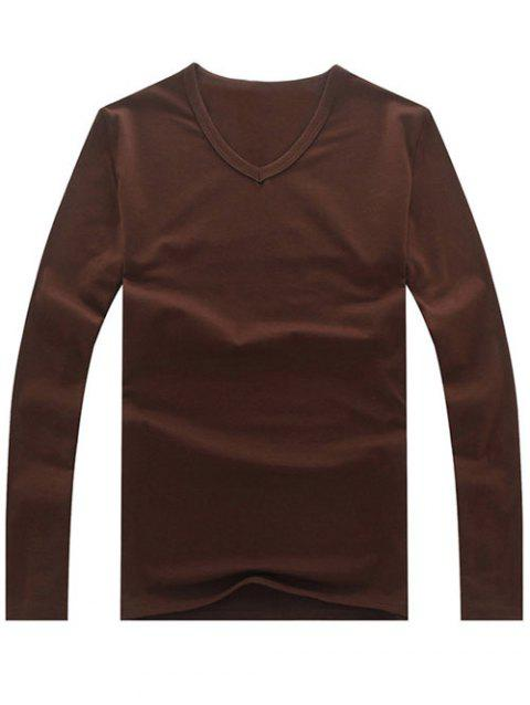 Brief Style V Neck Long Sleeve Plain Tee - COFFEE L