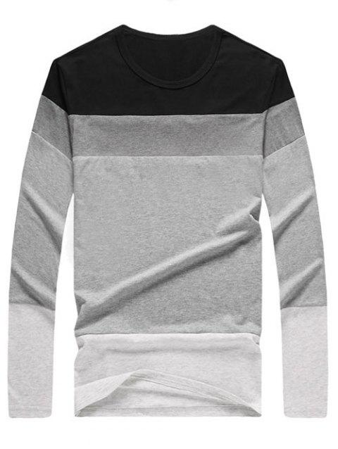 Brief Color Blocks Round Neck Long Sleeves Tee For Men - BLACK XL