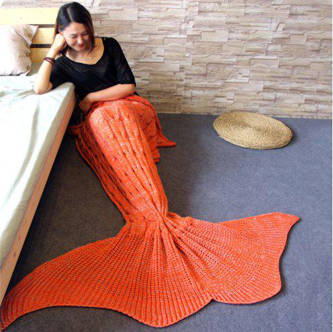 Knitted Braid Mermaid Tail Blanket For Adult - ORANGE