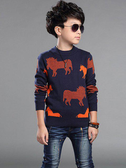 Horses Printed Sweater For Boy - RED 170