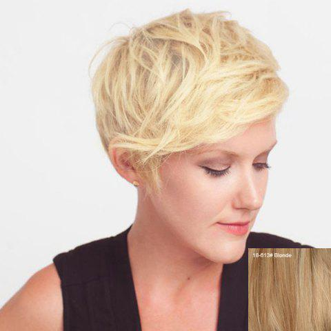 Fluffy Exquisite Short Boy Cut Slightly Curled Women s Human Hair Side Bang  Wig - BLONDE 85ca1bfd9b