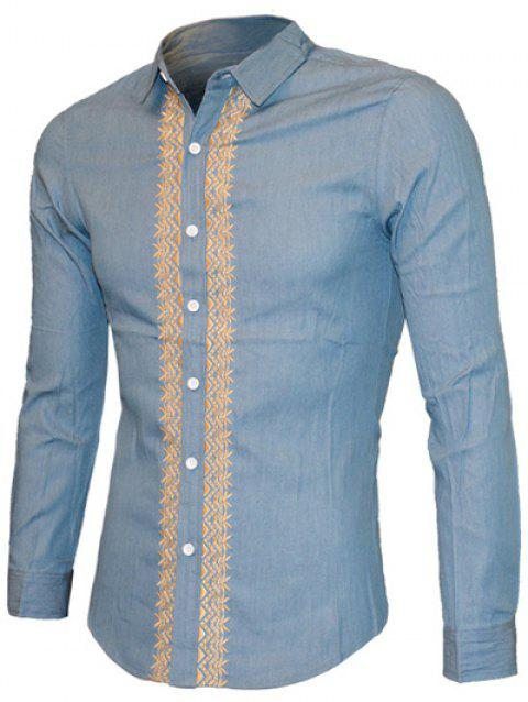 Embroidered Turn-down Collar Long Sleeve Men's Casual Shirt - DENIM BLUE M