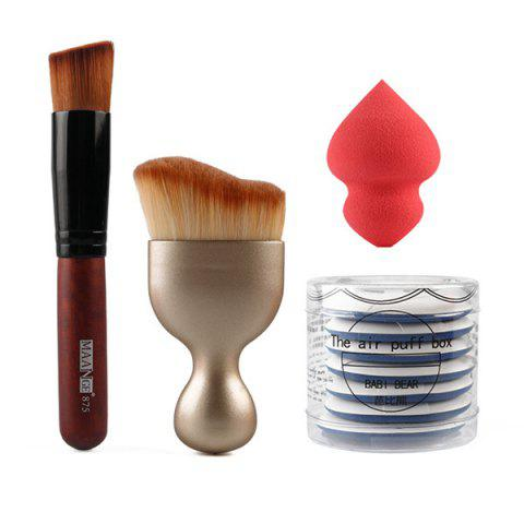 Cosmétique 4 Pièces / Ensemble de Houppettes + Pinceau Fond de Teint + Pinceau Blush en Forme de Vague + Beauty Blender - multicolore