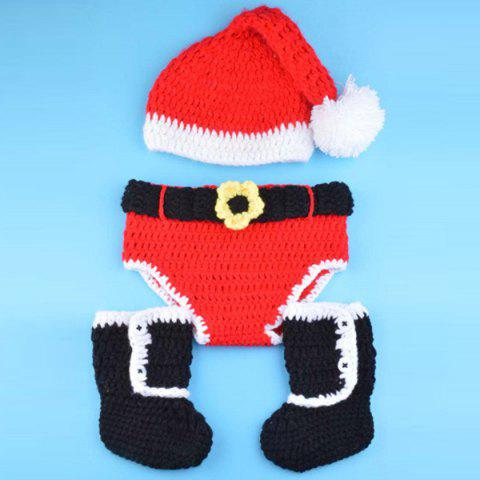 Fashional Knitted 3PCS Christmas Hat Shorts and Boots Baby Clothes Set - RED/BLACK