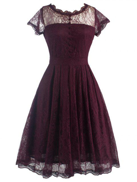 2018 Funky Short Wedding A Line Dress With Sleeves Wine Red S In