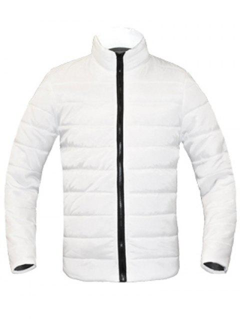 Zip Solid Color Up Stand Collar manches longues hommes d  'Down Coat - Blanc M