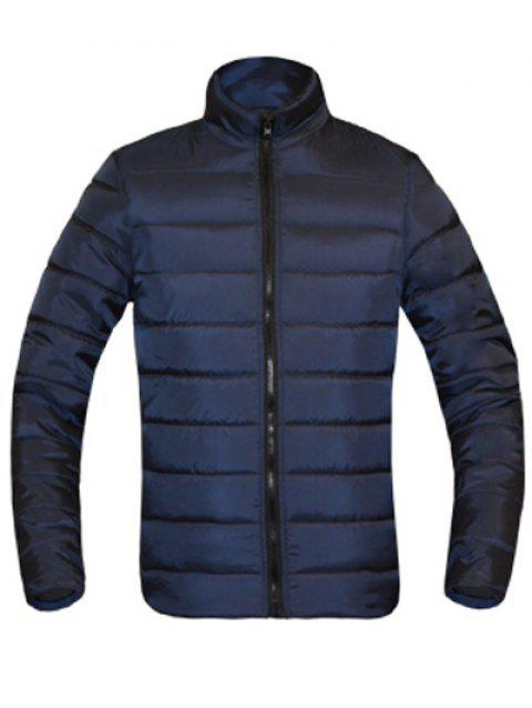 Zip Solid Color Up Stand Collar manches longues hommes d  'Down Coat - Cadetblue XL