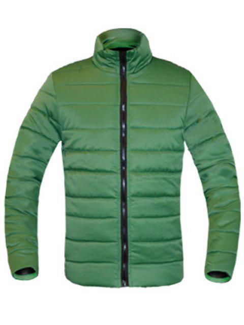 Zip Solid Color Up Stand Collar manches longues hommes d  'Down Coat - Vert L