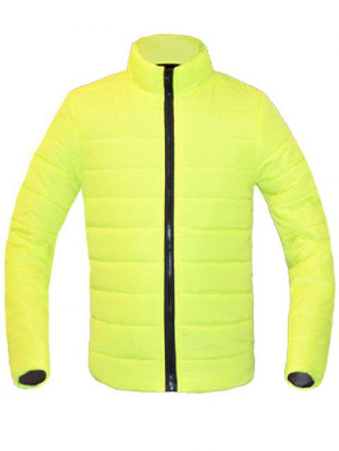 Zip Solid Color Up Stand Collar manches longues hommes d  'Down Coat - Vert Fluorescent M
