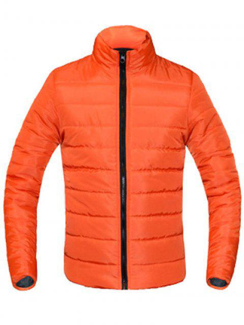 Zip Solid Color Up Stand Collar manches longues hommes d  'Down Coat - Orange XL