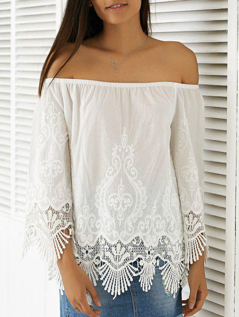 Elegant Women's Scoop Neck 3/4 Sleeve Lace Blouse - WHITE S