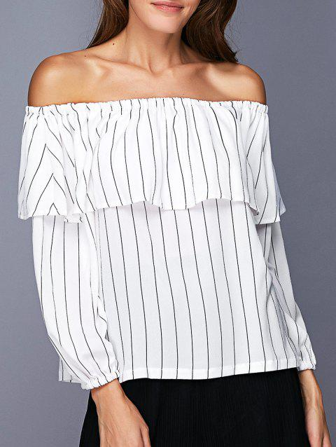 Trendy Off The Shoulder Flounce Striped Women's Blouse - WHITE S
