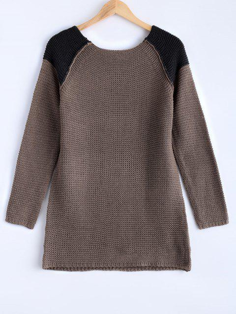 Chic High-Low Hit Color Sweater - COFFEE ONE SIZE