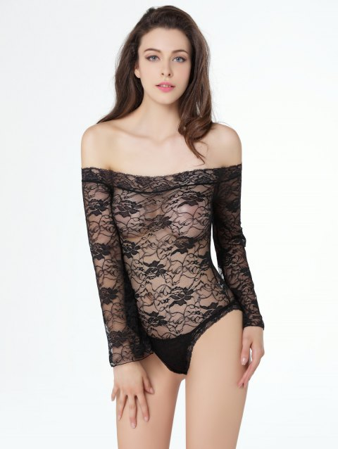 Alluring Women's Off-The-Shoulder Lace Teddy - BLACK 2XL