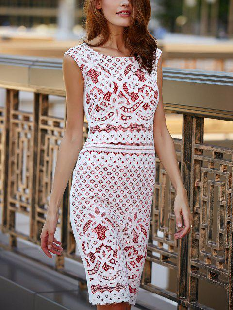 Chic Women's Sleeveless Cut Out Lace Dress - RED XL