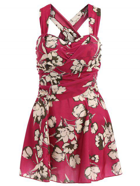 Fresh Style Draped One-Piece Floral Swimwear For Women - WINE RED XL
