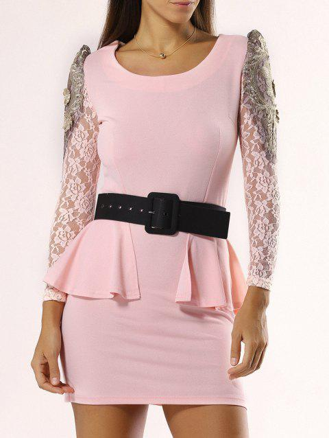 Elegant Flounce Lace Belted Dress For Women - PINK XL