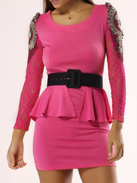 Elegant Flounce Lace Belted Dress For Women - ROSE RED M
