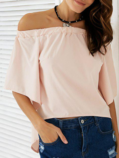 Chic Off The Shoulder Asymmetrical Women's Blouse - NUDE PINK XL