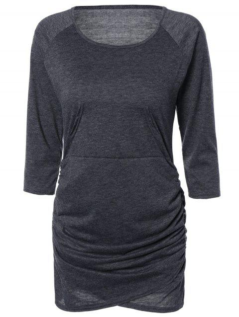 Chic Pure Color Ruched Bodycon Dress For Women - DEEP GRAY L