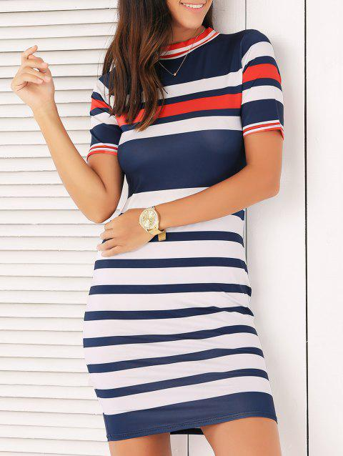Stripe Mini Bodycon Dress - PURPLISHBLUE / WHITE L