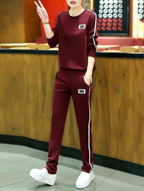 Active Round Neck Striped Women's Sport Suit - DARK RED M