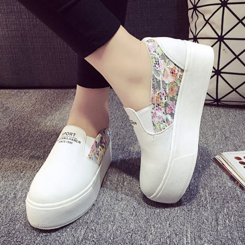 fe1e066843f0 2019 Simple Lace and Floral Print Design Women s Platform Shoes In ...