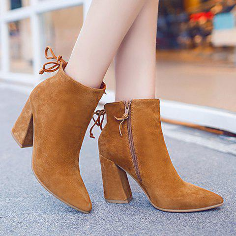 Fashionable Zipper and Tie Up Design Women's Short Boots - BROWN 38