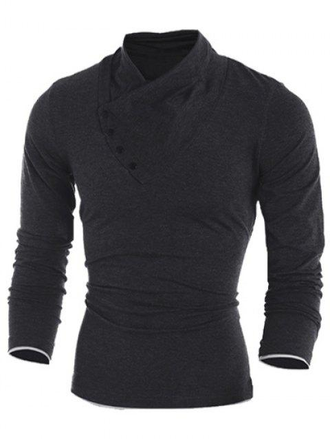Side Button Surplice Long Sleeve Men's T-Shirt - BLACK M